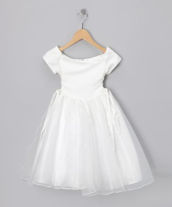 Ivory Lace-Up Cap-Sleeve Dress - Girls