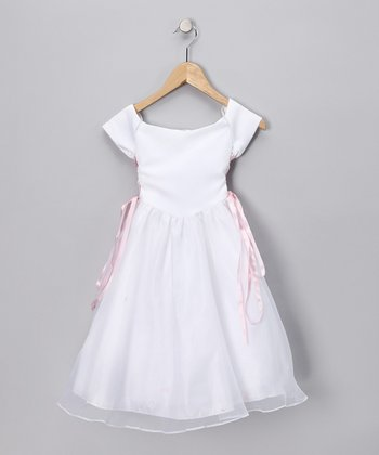 White & Pink Lace-Up Cap-Sleeve Dress - Toddler