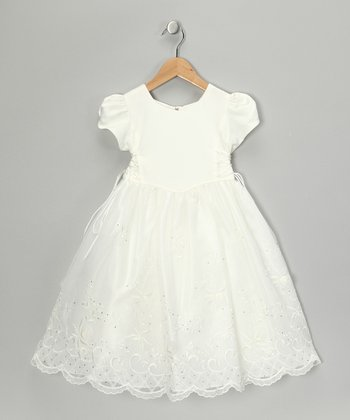 Ivory Embroidered Cap-Sleeve Dress - Girls