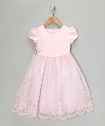 Pink Embroidered Cap-Sleeve Dress - Girls