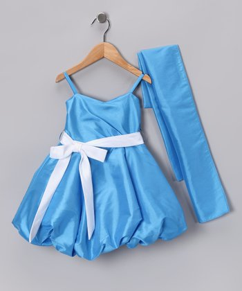 Cobalt Bubble Dress & Shawl - Toddler & Girls