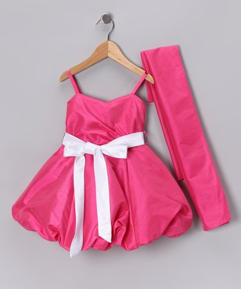 Fuchsia Bubble Dress & Shawl - Toddler & Girls