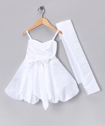 White Bubble Dress & Shawl - Toddler & Girls