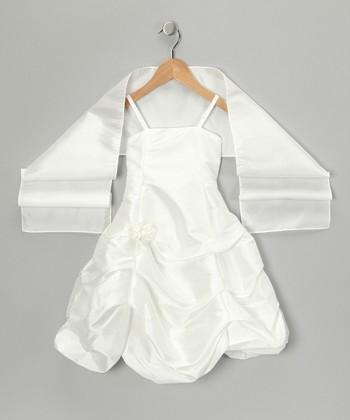 Ivory Pick-Up Dress & Shawl - Girls