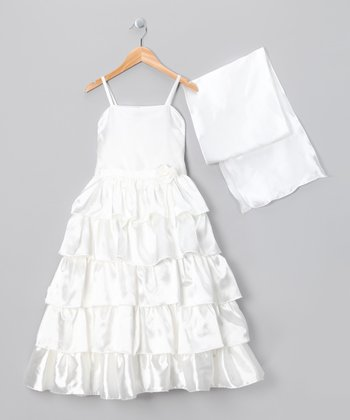 Ivory Tiered Ruffle Dress & Shawl - Girls