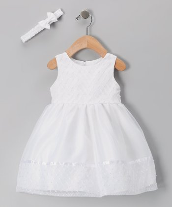 Tip Top White Embroidered A-Line Dress - Infant