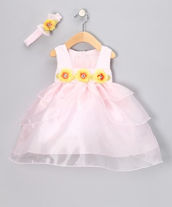 Pink & Yellow Flower Dress & Headband - Infant