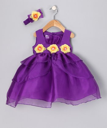 Purple & Yellow Flower Dress & Headband - Infant