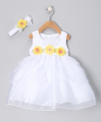 White & Yellow Flower Dress & Headband - Infant