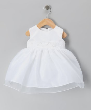 Tip Top White Flower Overlay Dress - Infant