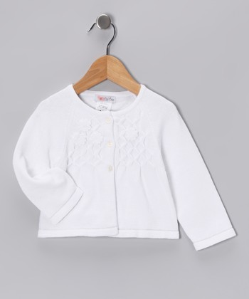White Flower Cardigan - Infant, Toddler & Girls