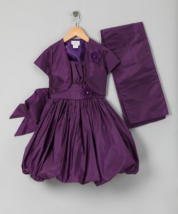 Eggplant Bubble Dress Set - Infant & Toddler