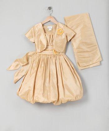 Gold Bubble Dress Set - Infant, Toddler & Girls