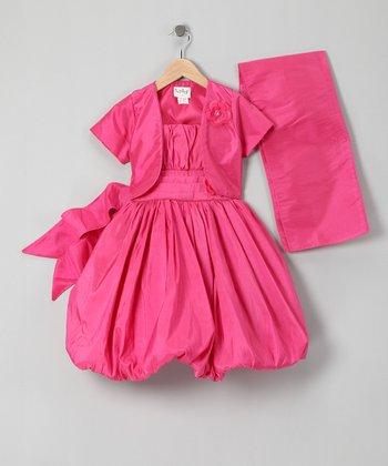 Hot Pink Bubble Dress Set - Infant, Toddler & Girls