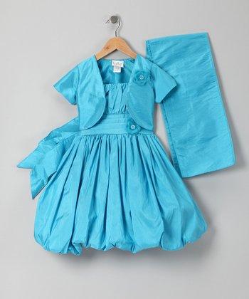 Turquoise Bubble Dress Set - Infant, Toddler & Girls
