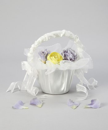 Ivory Satin Flower Girl Basket