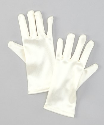Ivory Satin Gloves