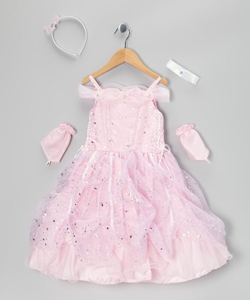 Pink Star Lace-Up Dress Set - Toddler & Girls