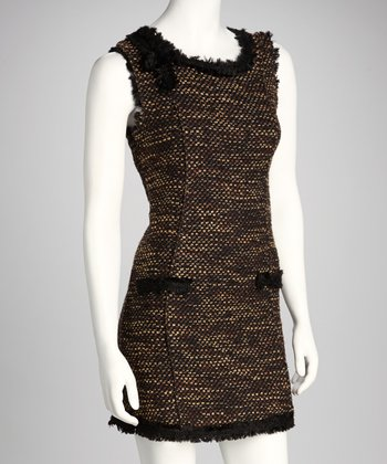 Brown Tweed Sheath Dress