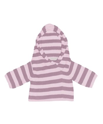 Pale Pink & Vintage Rose Stripe Wrap Hoodie - Infant & Toddler