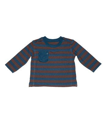 Blue & Chocolate Stripe Alpine Top - Infant