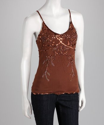Brown Beaded Tank