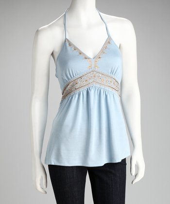 Baby Blue Embellished Halter Top