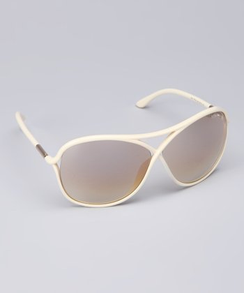 Shiny Ivory Curve Sunglasses