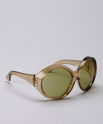 Crystal Beige & Green Ali Sunglasses
