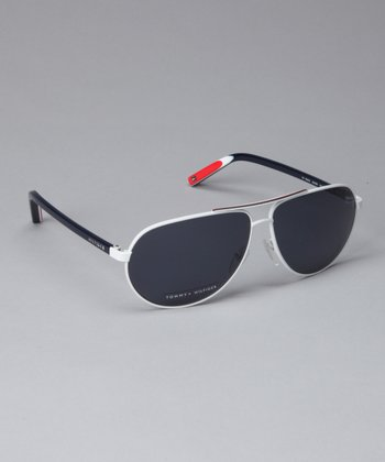 White & Blue Pilot Sunglasses