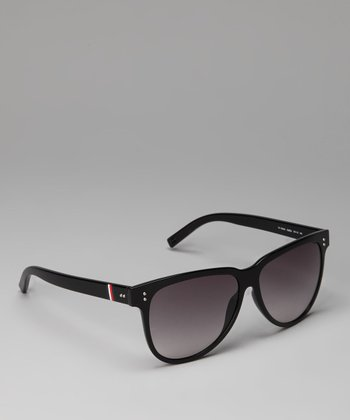 Shiny Black & Gray Classic Sunglasses