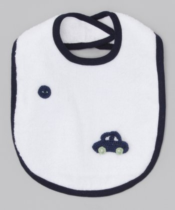 Too Sweet White & Blue Crocheted Car Bib