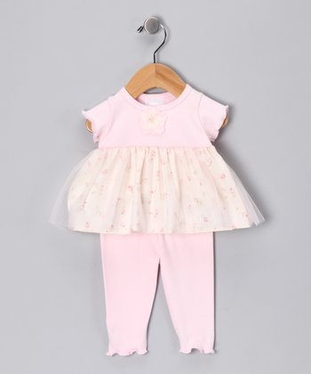 Too Sweet Too Sweet Pink Rose Babydoll Tunic & Leggings - Infant