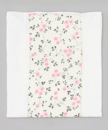 White & Pink Floral Burp Cloth