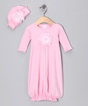 Pink Flower Gown & Beanie - Infant