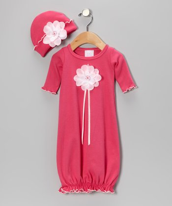 Berry Sequin Rose Gown & Beanie - Infant