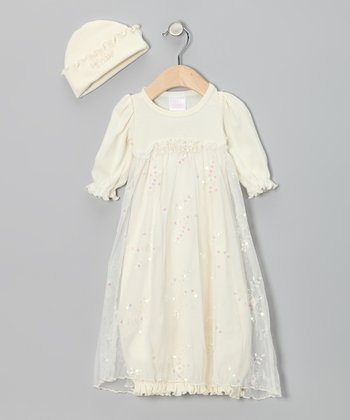 Ivory Sequin Lace Gown & Beanie - Infant