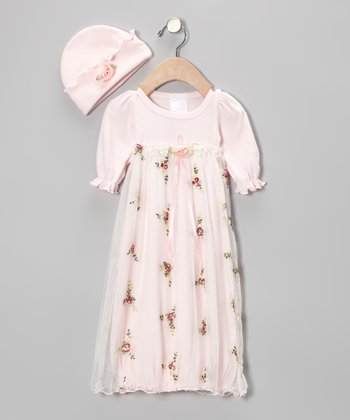 Too Sweet Rose Floral Tulle Gown & Beanie