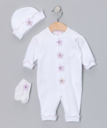 White & Lavender Flower Playsuit Set - Infant