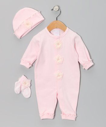 Pink & Blush Flower Playsuit Set - Infant