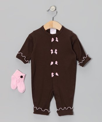 Brown & Pink Bow Playsuit & Socks - Infant