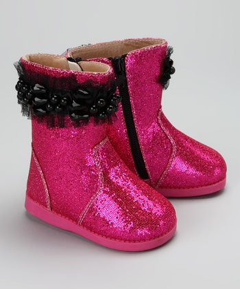 Hot Pink & Black Rockstar Squeaker Boot