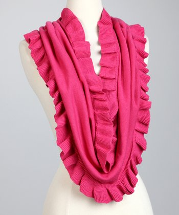 Hot Pink Ruffle Eternity Loop Scarf