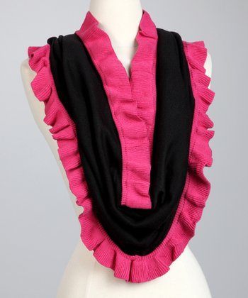 Black & Hot Pink Ruffle Eternity Loop Scarf