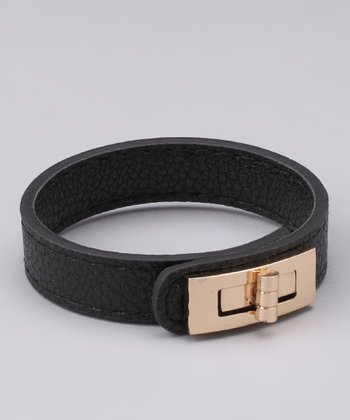 Black Leatherette Turn-Lock Bracelet