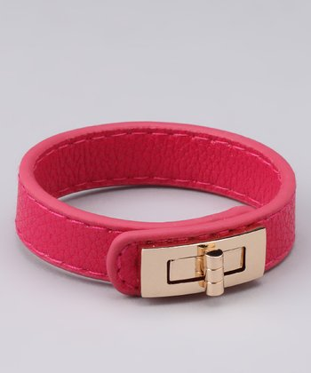 Hot Pink Leatherette Turn-Lock Bracelet