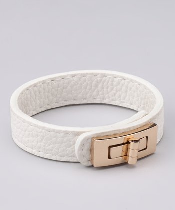 White Leatherette Turn-Lock Bracelet