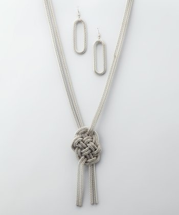 Silver Knot Necklace & Earrings