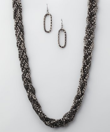 Black Braided Necklace & Earrings