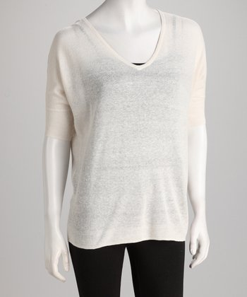 Topin Cream Semi-Sheer Knit Dolman Top